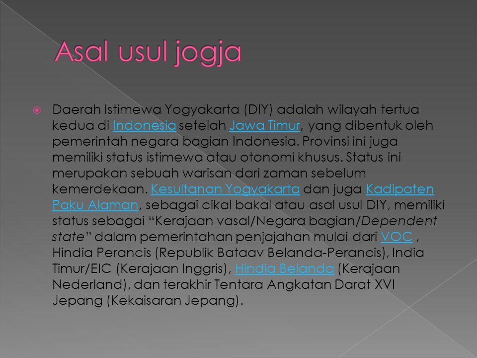  Daerah Istimewa Yogyakarta (DIY) adalah wilayah tertua kedua di Indonesia setelah Jawa Timur, yang dibentuk oleh pemerintah negara bagian Indonesia.