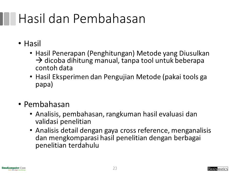 Hasil dan Pembahasan Hasil Hasil Penerapan (Penghitungan) Metode yang Diusulkan  dicoba dihitung manual, tanpa tool untuk beberapa contoh data Hasil