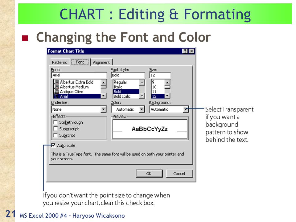 MS Excel 2000 #4 – Haryoso Wicaksono 21 Changing the Font and Color CHART : Editing & Formating