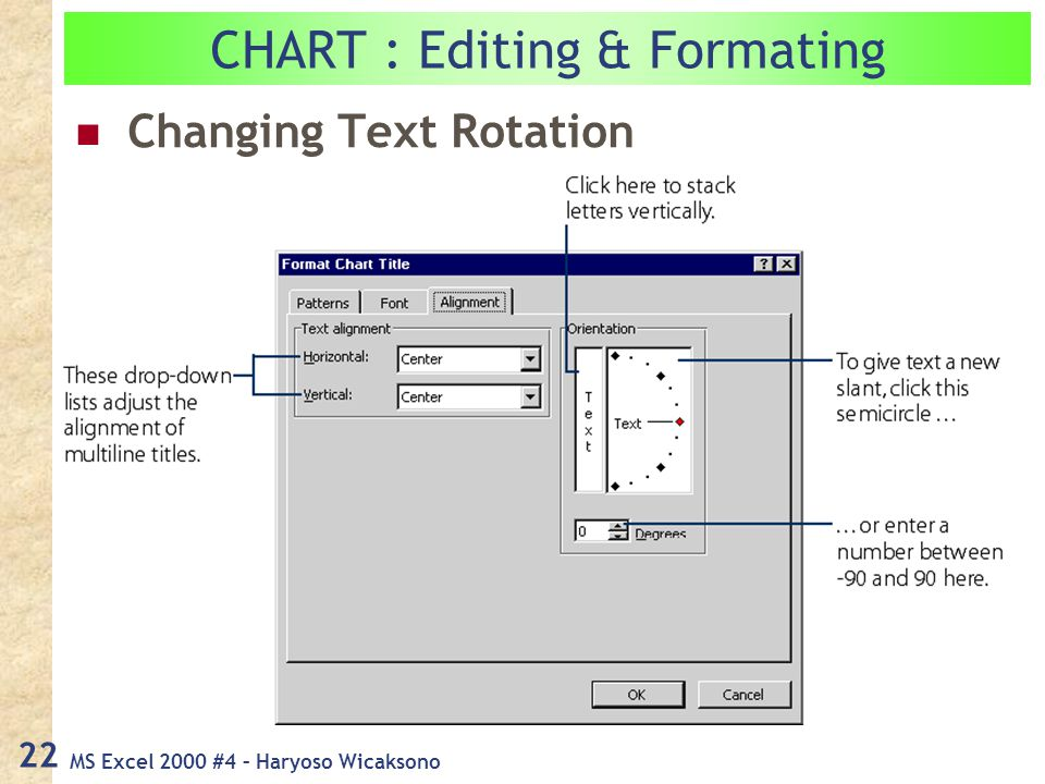 MS Excel 2000 #4 – Haryoso Wicaksono 22 Changing Text Rotation CHART : Editing & Formating