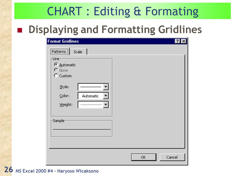 MS Excel 2000 #4 – Haryoso Wicaksono 26 CHART : Editing & Formating Displaying and Formatting Gridlines