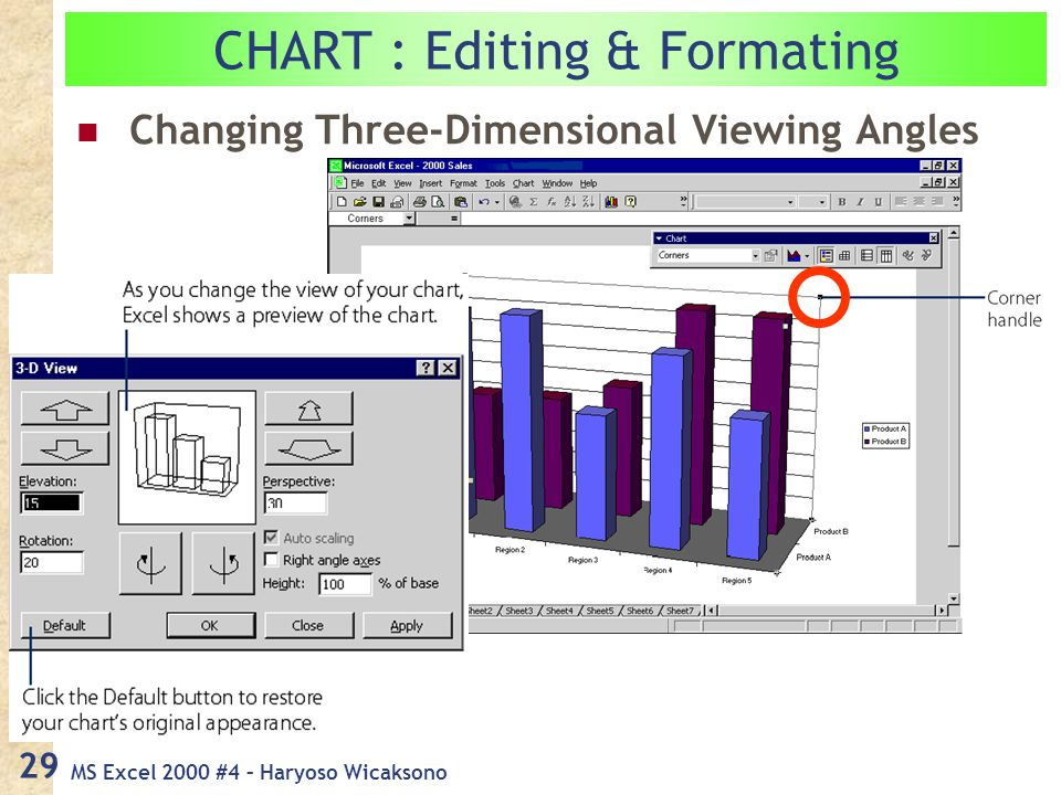 MS Excel 2000 #4 – Haryoso Wicaksono 29 CHART : Editing & Formating Changing Three-Dimensional Viewing Angles