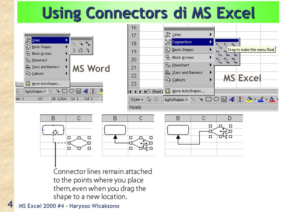 MS Excel 2000 #4 – Haryoso Wicaksono 5 Grafik : Chart Membuat grafik/chart diperlukan : Data angka, minimal 1 kolom Jenis grafik : Grafik perbandingan,  grafik lingkaran Grafik XY,  grafik garis, grafik batang, dll 4 (empat langkah) pembuatan grafik : Tetapkan tujuan berdasarkan jenis grafik Entri data angka Insert  Chart s/d grafik tertampil Editing & Formatting grafik