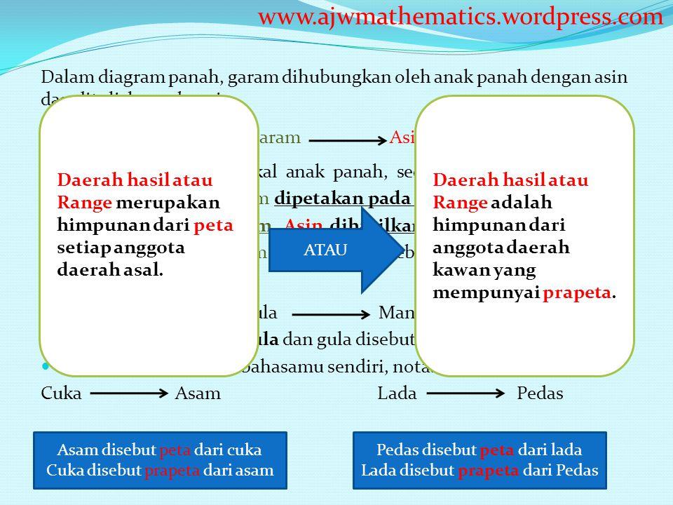 Dalam diagram panah, garam dihubungkan oleh anak panah dengan asin dan dituliskan sebagai Garam Asin Garam berada pada pangkal anak panah, sedangkan a