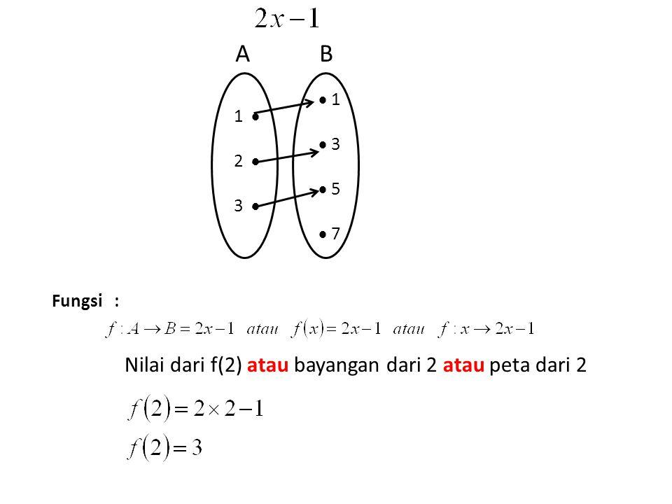Fungsi : Nilai dari f(2) atau bayangan dari 2 atau peta dari 2 1  2  3   1  3  5  7 AB