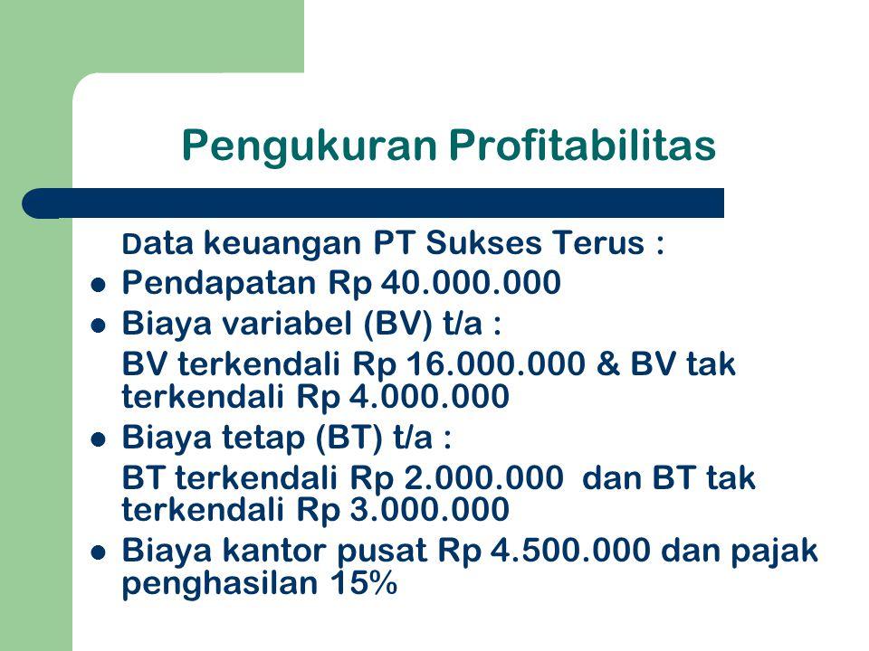 Pengukuran Profitabilitas D ata keuangan PT Sukses Terus : Pendapatan Rp 40.000.000 Biaya variabel (BV) t/a : BV terkendali Rp 16.000.000 & BV tak ter