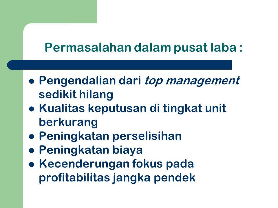 Implementasi Pusat Laba 1.Unit Bisnis Syarat : menjalankan fungsi produksi & pemasaran a.