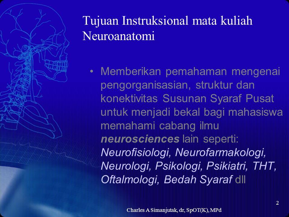 Tujuan Instruksional mata kuliah Neuroanatomi Memberikan pemahaman mengenai pengorganisasian, struktur dan konektivitas Susunan Syaraf Pusat untuk men
