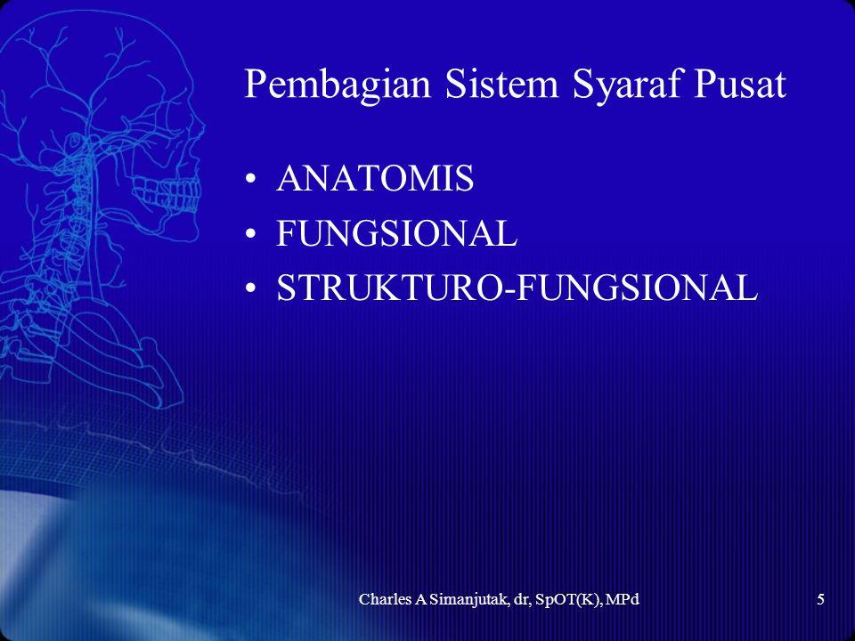 Pembagian Sistem Syaraf Pusat ANATOMIS FUNGSIONAL STRUKTURO-FUNGSIONAL Charles A Simanjutak, dr, SpOT(K), MPd5