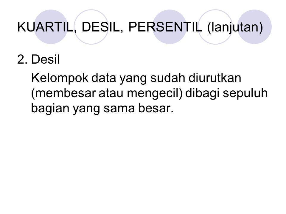 KUARTIL, DESIL, PERSENTIL (lanjutan) 2.