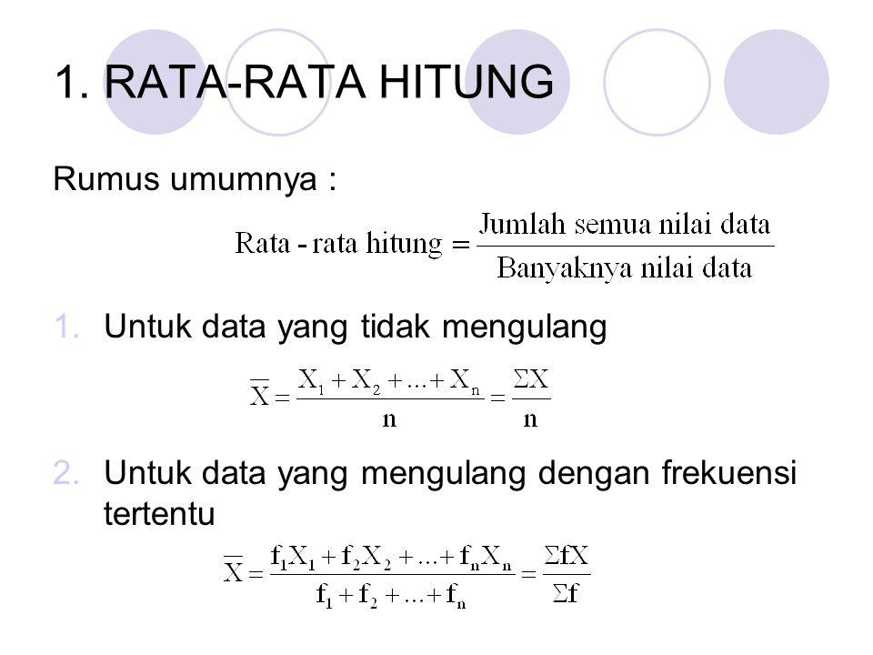 1. RATA-RATA HITUNG Rumus umumnya : 1.Untuk data yang tidak mengulang 2.Untuk data yang mengulang dengan frekuensi tertentu