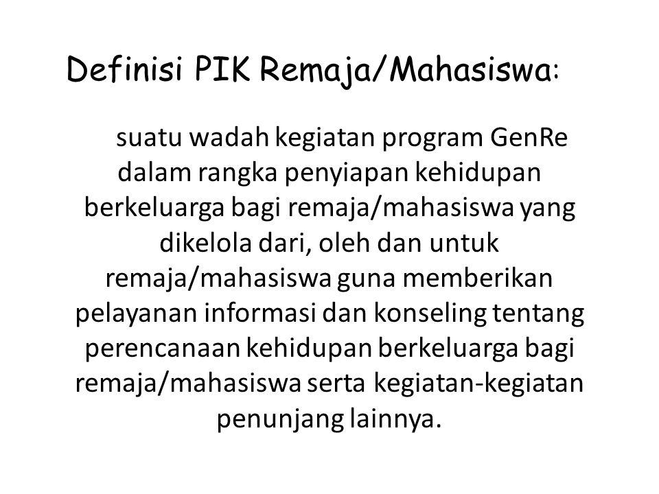 Memberikan informasi tentang Program PKBR (8 Fungsi Keluarga, Triad KRR, Life Skills dan PUP) Pelayanan konseling dan rujukan Tujuan PIK Remaja/ Mahasiswa Mewujudkan Generasi Berencana (GenRe).