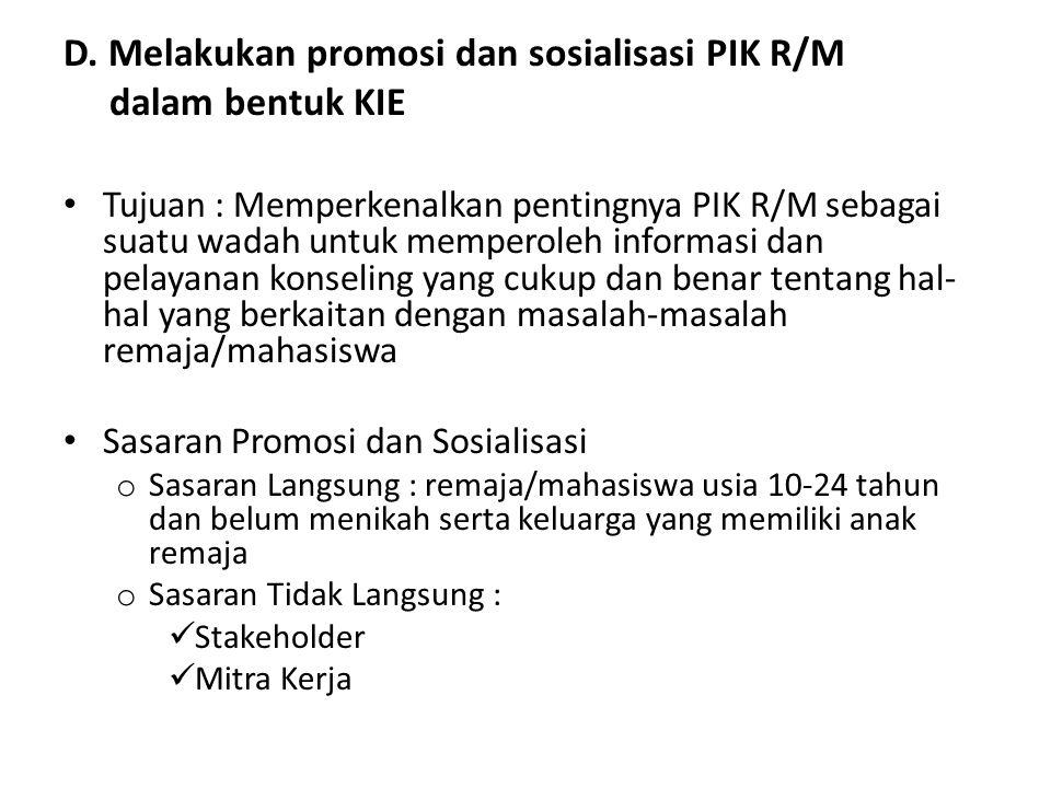 D. Melakukan promosi dan sosialisasi PIK R/M dalam bentuk KIE Tujuan : Memperkenalkan pentingnya PIK R/M sebagai suatu wadah untuk memperoleh informas