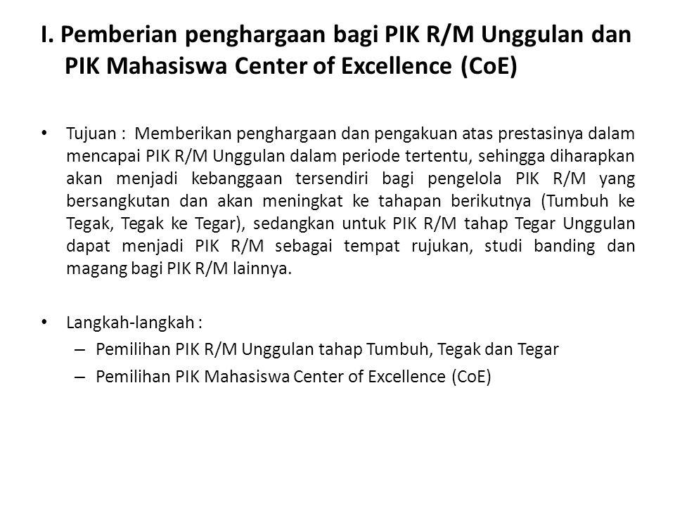 I. Pemberian penghargaan bagi PIK R/M Unggulan dan PIK Mahasiswa Center of Excellence (CoE) Tujuan : Memberikan penghargaan dan pengakuan atas prestas