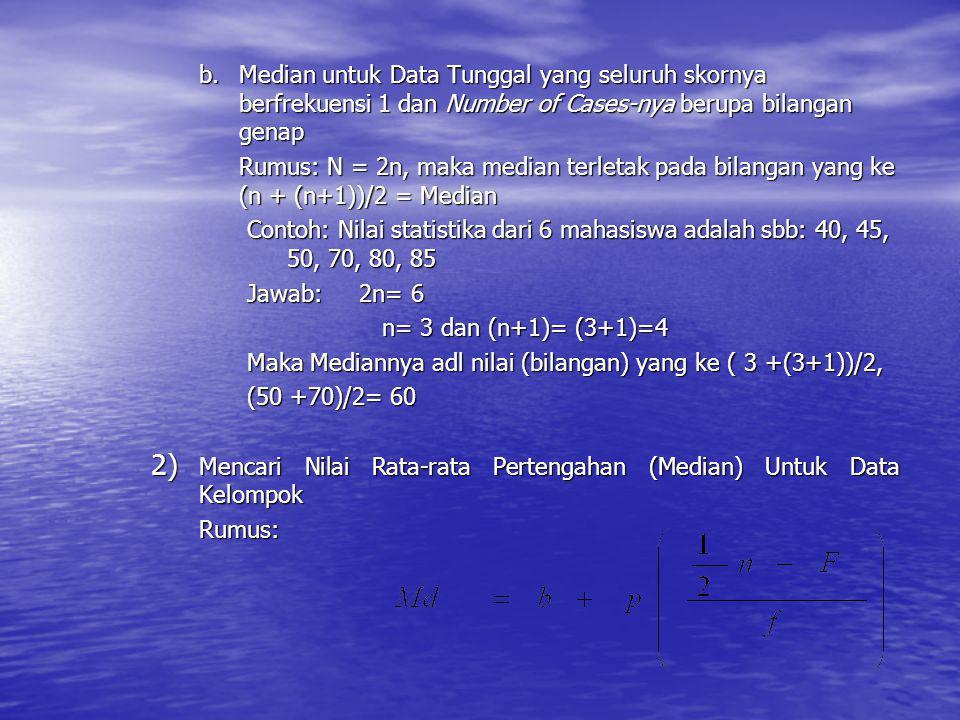 b.Median untuk Data Tunggal yang seluruh skornya berfrekuensi 1 dan Number of Cases-nya berupa bilangan genap Rumus: N = 2n, maka median terletak pada
