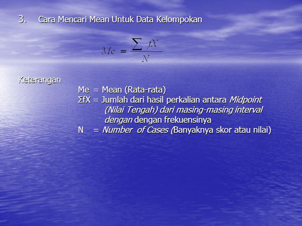 3. Cara Mencari Mean Untuk Data Kelompokan Keterangan Me = Mean (Rata-rata) ΣfX = Jumlah dari hasil perkalian antara Midpoint (Nilai Tengah) dari masi