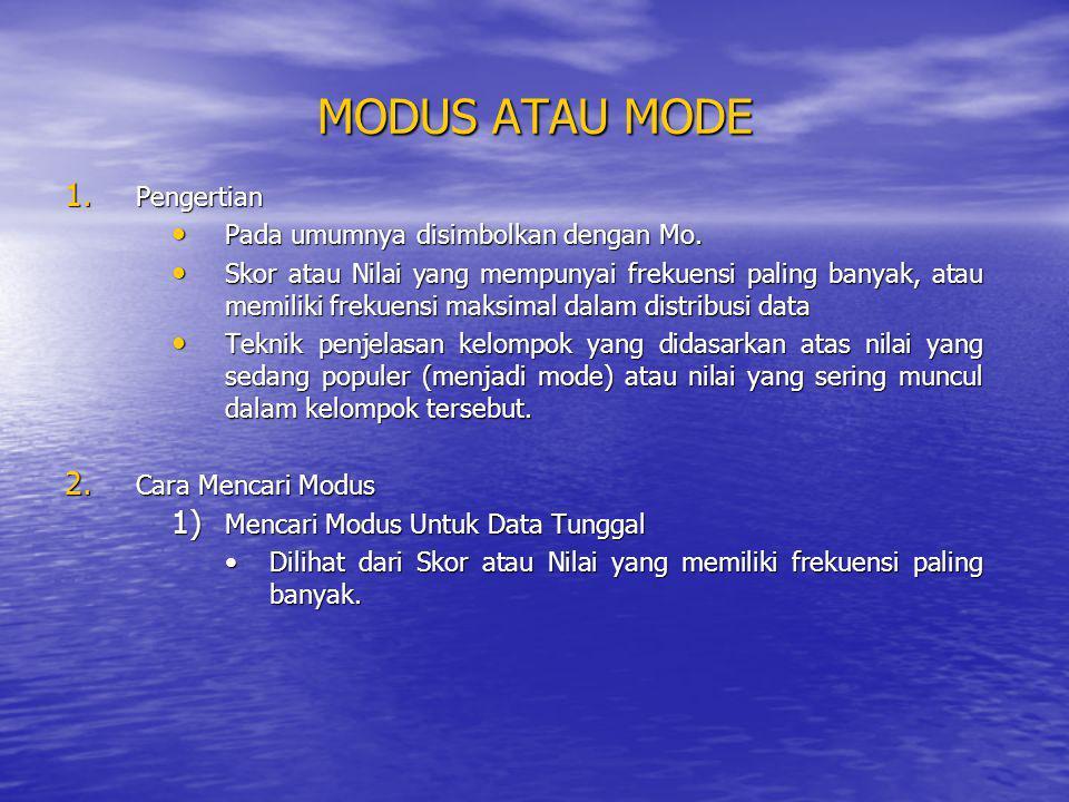 MODUS ATAU MODE 1. Pengertian Pada umumnya disimbolkan dengan Mo. Pada umumnya disimbolkan dengan Mo. Skor atau Nilai yang mempunyai frekuensi paling