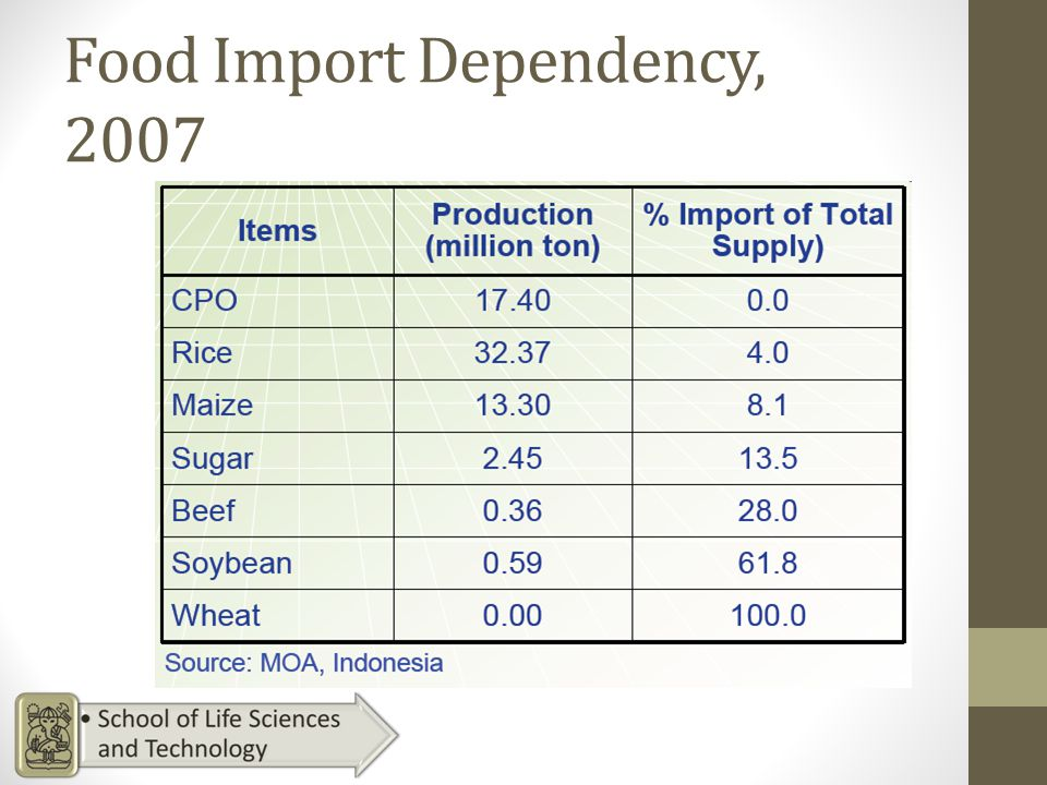 Food Import Dependency, 2007