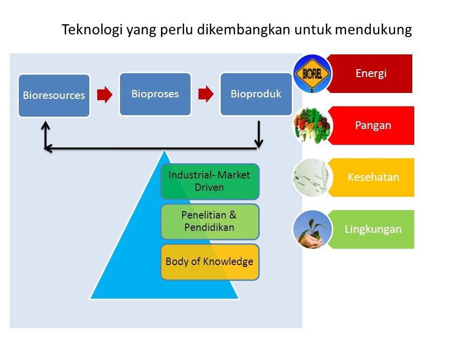 Energi Pangan Kesehatan Lingkungan Industrial- Market Driven Penelitian & Pendidikan Body of Knowledge BioresourcesBioprosesBioproduk Teknologi yang perlu dikembangkan untuk mendukung