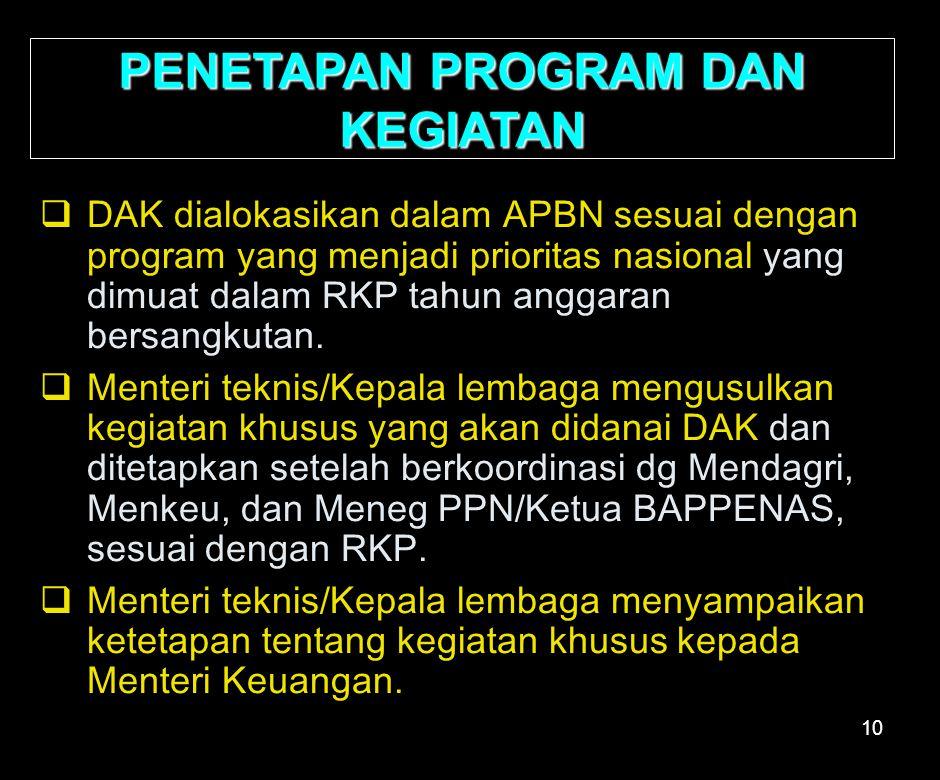 10 PENETAPAN PROGRAM DAN KEGIATAN  DAK dialokasikan dalam APBN sesuai dengan program yang menjadi prioritas nasional yang dimuat dalam RKP tahun anggaran bersangkutan.
