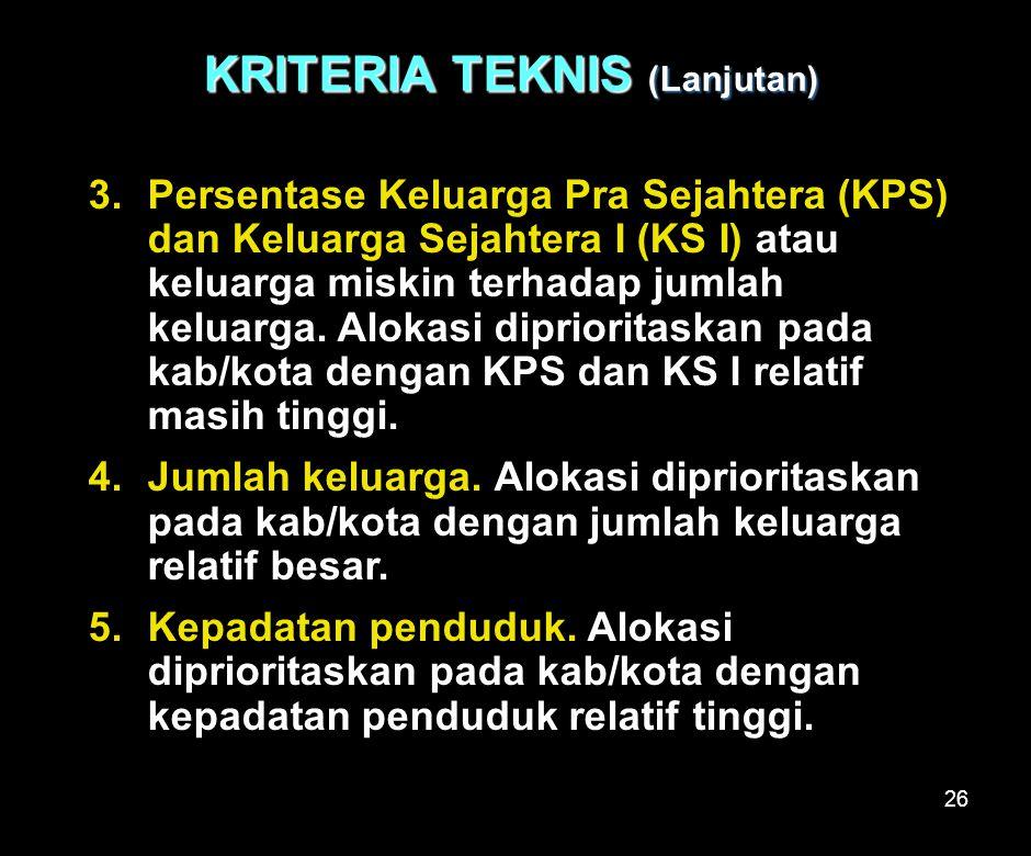 26 KRITERIA TEKNIS (Lanjutan)  Persentase Keluarga Pra Sejahtera (KPS) dan Keluarga Sejahtera I (KS I) atau keluarga miskin terhadap jumlah keluarga.