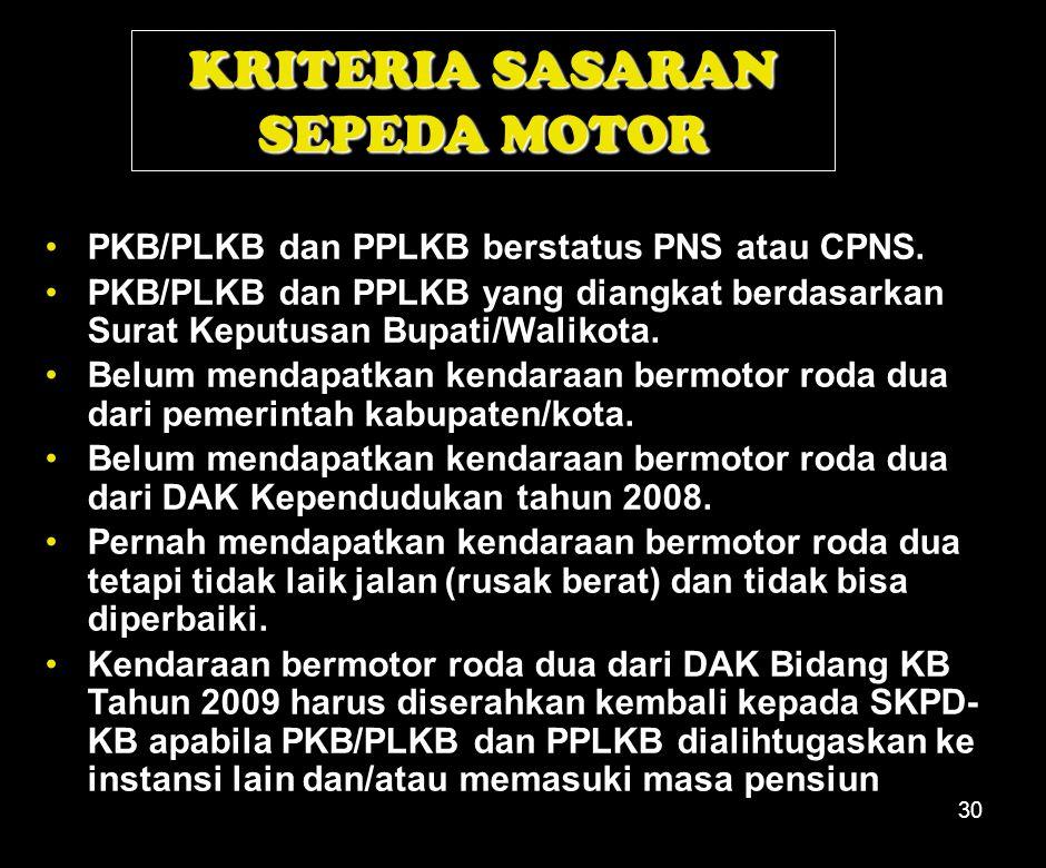 30 PKB/PLKB dan PPLKB berstatus PNS atau CPNS.