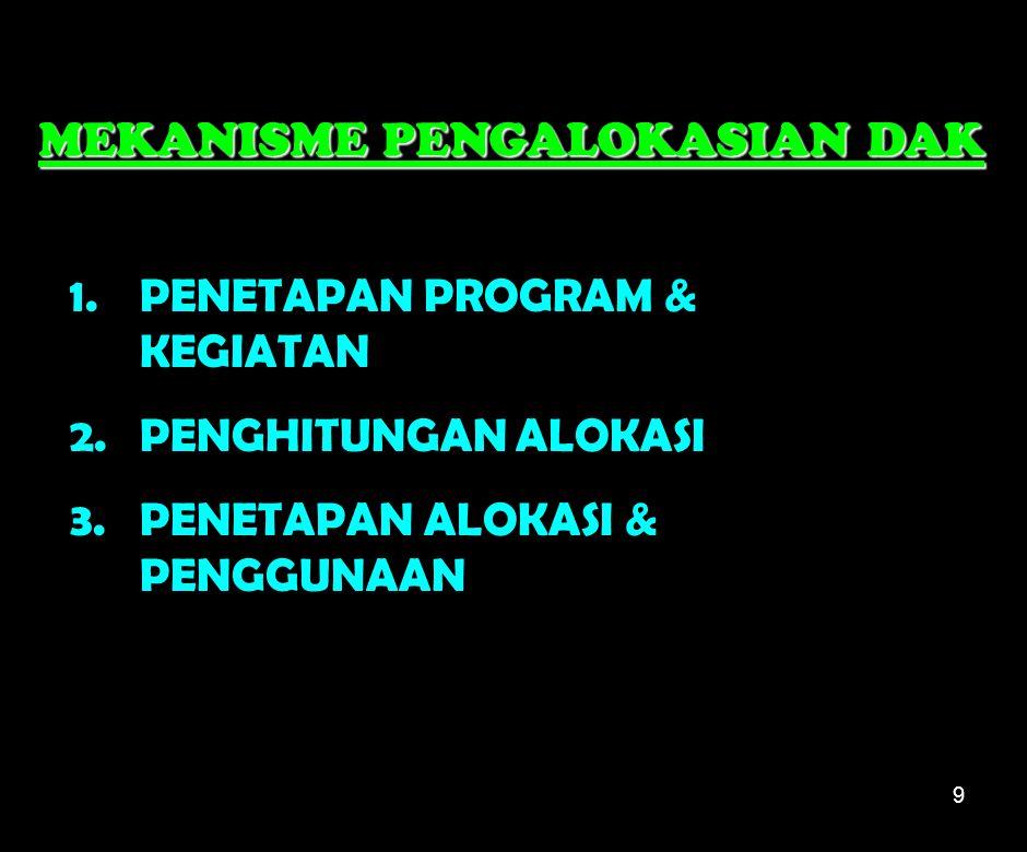 9 1.PENETAPAN PROGRAM & KEGIATAN 2.PENGHITUNGAN ALOKASI 3.PENETAPAN ALOKASI & PENGGUNAAN MEKANISME PENGALOKASIAN DAK