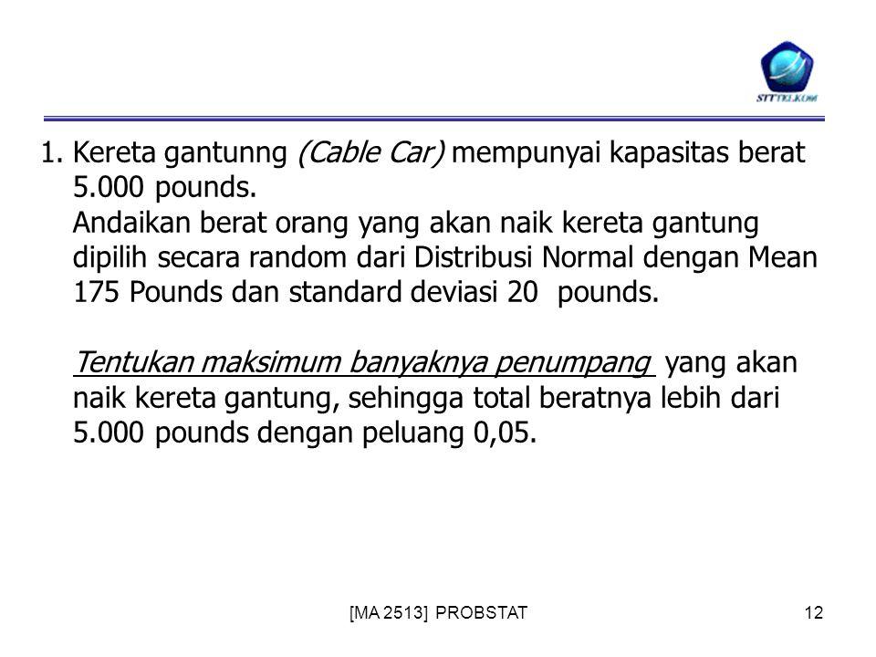 [MA 2513] PROBSTAT12 1.Kereta gantunng (Cable Car) mempunyai kapasitas berat 5.000 pounds. Andaikan berat orang yang akan naik kereta gantung dipilih