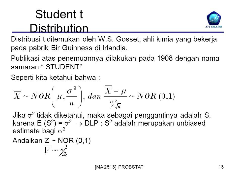 [MA 2513] PROBSTAT13 Student t Distribution Distribusi t ditemukan oleh W.S. Gosset, ahli kimia yang bekerja pada pabrik Bir Guinness di Irlandia. Pub