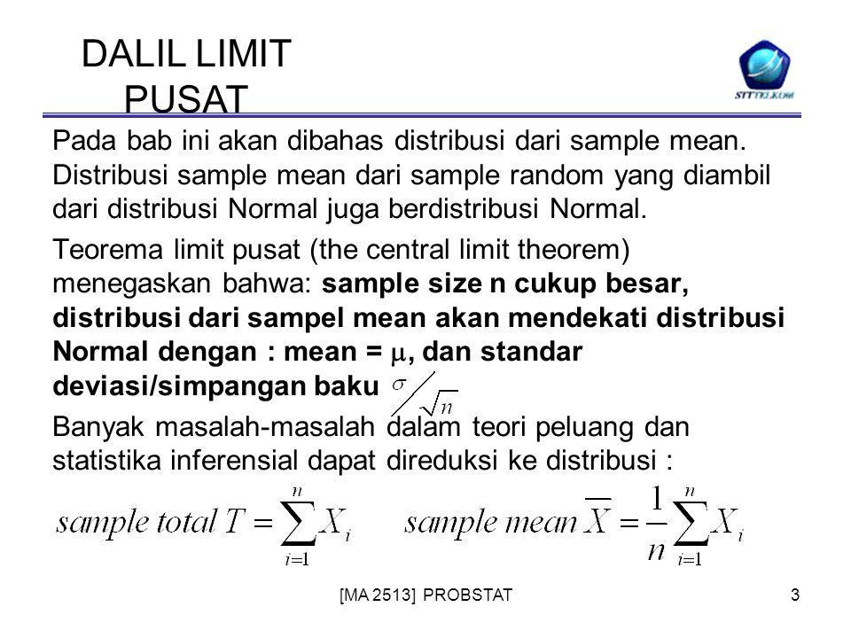 [MA 2513] PROBSTAT3 Pada bab ini akan dibahas distribusi dari sample mean. Distribusi sample mean dari sample random yang diambil dari distribusi Norm