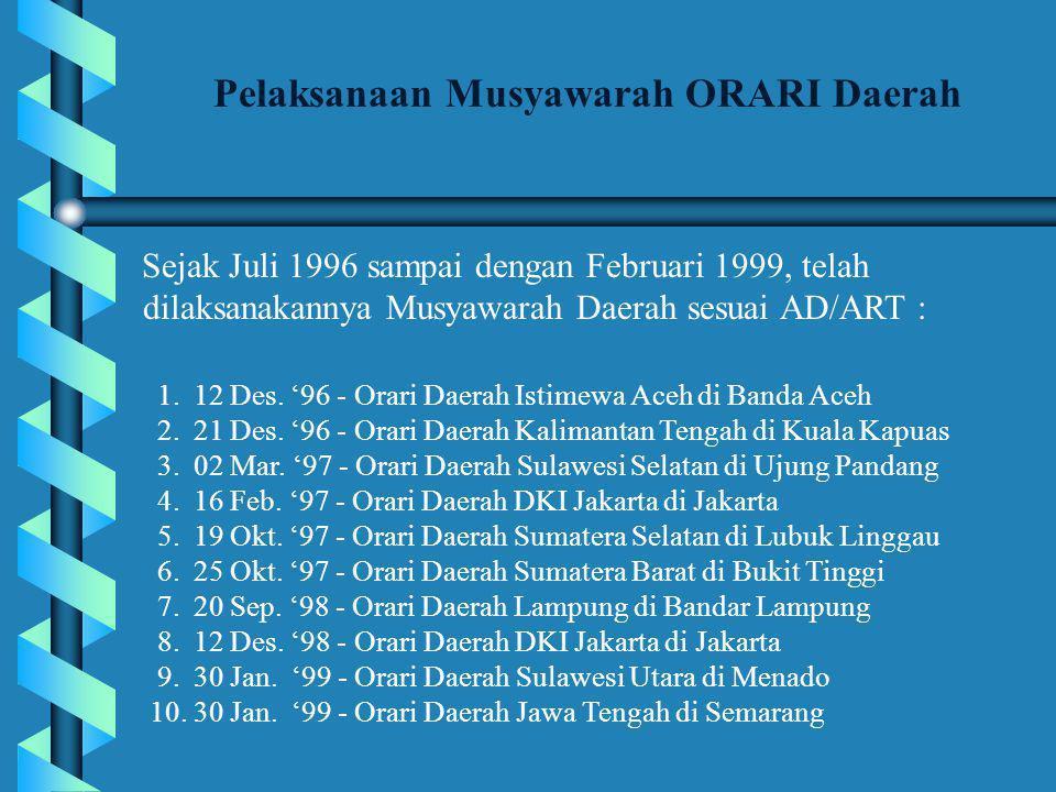 Sejak Juli 1996 sampai dengan Februari 1999, telah dilaksanakannya Musyawarah Daerah sesuai AD/ART : Pelaksanaan Musyawarah ORARI Daerah 1.