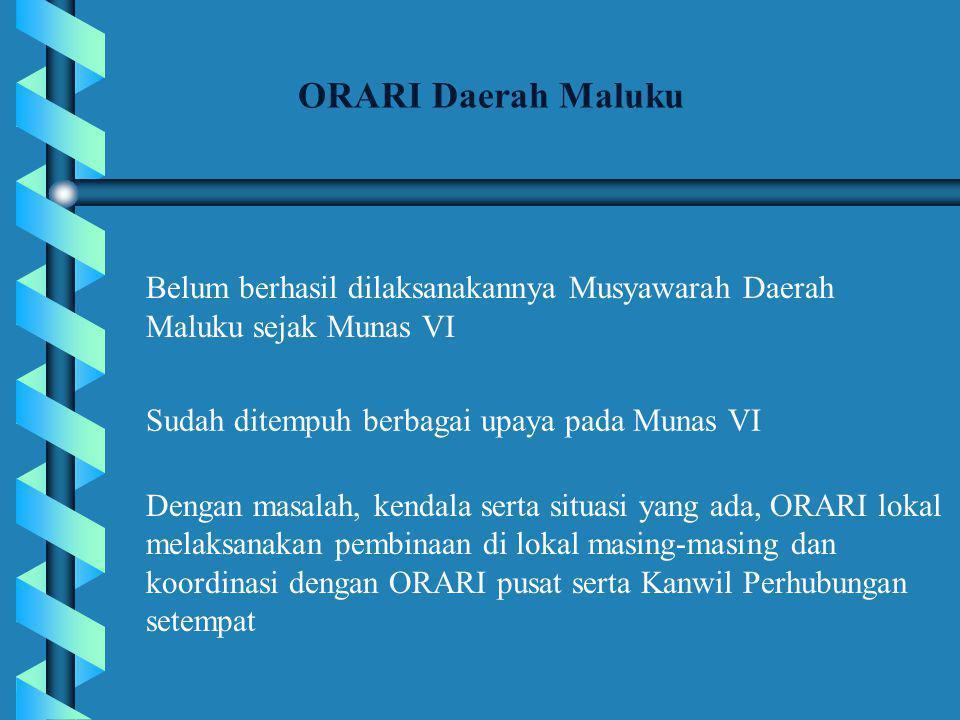 Belum berhasil dilaksanakannya Musyawarah Daerah Maluku sejak Munas VI ORARI Daerah Maluku Sudah ditempuh berbagai upaya pada Munas VI Dengan masalah, kendala serta situasi yang ada, ORARI lokal melaksanakan pembinaan di lokal masing-masing dan koordinasi dengan ORARI pusat serta Kanwil Perhubungan setempat