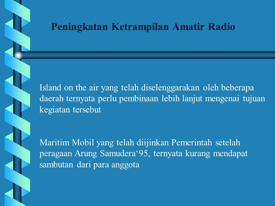 Peningkatan Ketrampilan Amatir Radio Island on the air yang telah diselenggarakan oleh beberapa daerah ternyata perlu pembinaan lebih lanjut mengenai tujuan kegiatan tersebut Maritim Mobil yang telah diijinkan Pemerintah setelah peragaan Arung Samudera'95, ternyata kurang mendapat sambutan dari para anggota