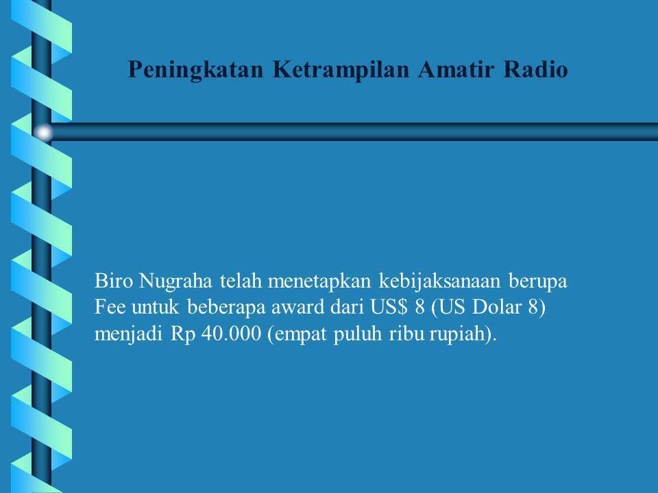 Biro Nugraha telah menetapkan kebijaksanaan berupa Fee untuk beberapa award dari US$ 8 (US Dolar 8) menjadi Rp 40.000 (empat puluh ribu rupiah).