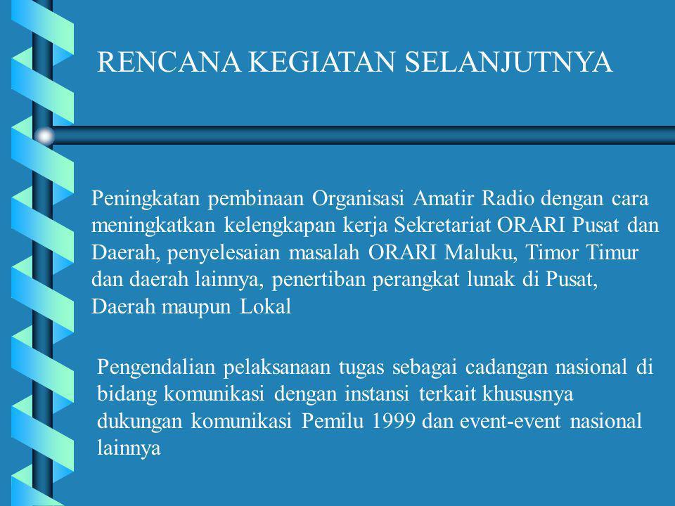 Peningkatan pembinaan Organisasi Amatir Radio dengan cara meningkatkan kelengkapan kerja Sekretariat ORARI Pusat dan Daerah, penyelesaian masalah ORARI Maluku, Timor Timur dan daerah lainnya, penertiban perangkat lunak di Pusat, Daerah maupun Lokal RENCANA KEGIATAN SELANJUTNYA Pengendalian pelaksanaan tugas sebagai cadangan nasional di bidang komunikasi dengan instansi terkait khususnya dukungan komunikasi Pemilu 1999 dan event-event nasional lainnya