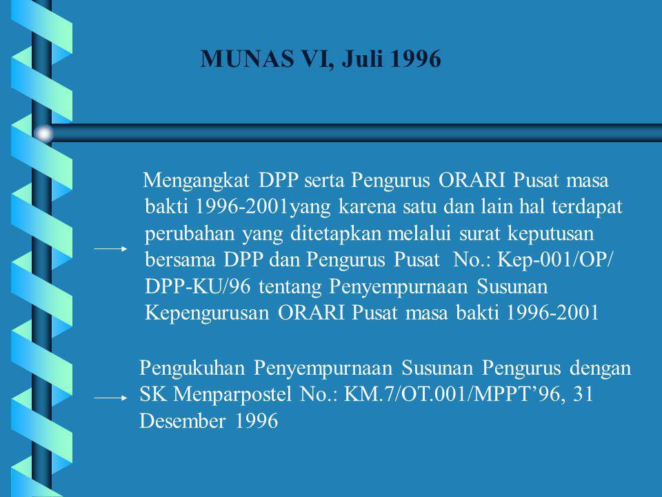 MUNAS VI, Juli 1996 Mengangkat DPP serta Pengurus ORARI Pusat masa bakti 1996-2001yang karena satu dan lain hal terdapat perubahan yang ditetapkan melalui surat keputusan bersama DPP dan Pengurus Pusat No.: Kep-001/OP/ DPP-KU/96 tentang Penyempurnaan Susunan Kepengurusan ORARI Pusat masa bakti 1996-2001 Pengukuhan Penyempurnaan Susunan Pengurus dengan SK Menparpostel No.: KM.7/OT.001/MPPT'96, 31 Desember 1996