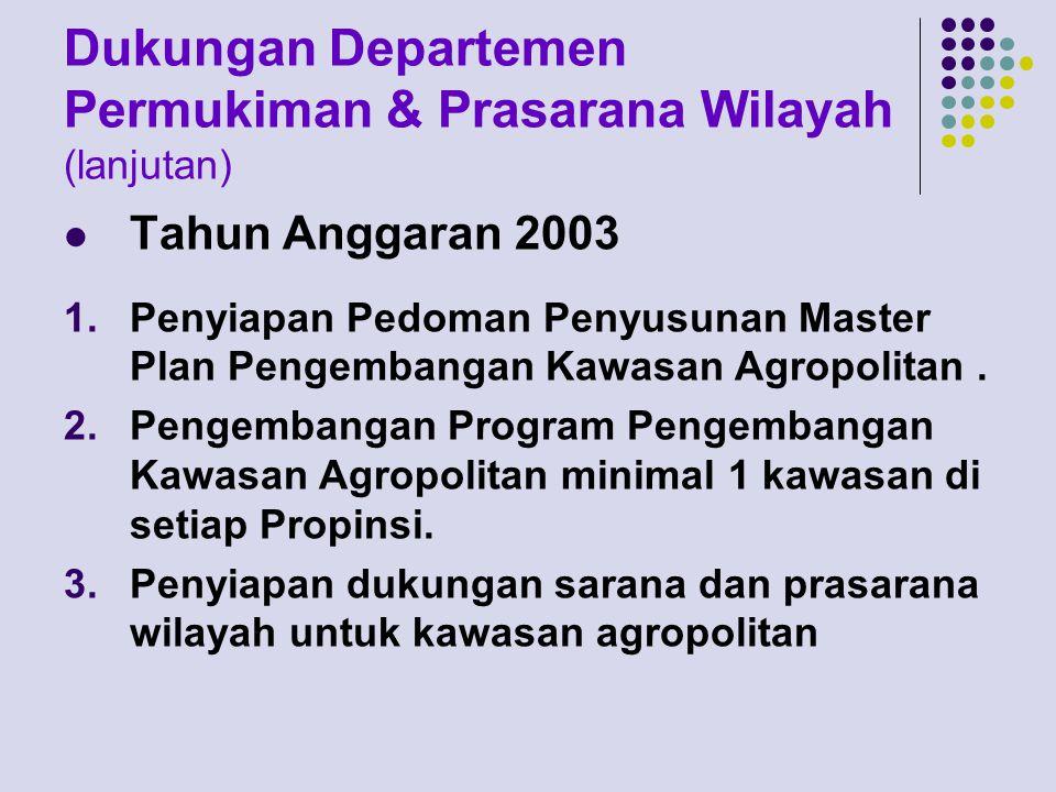 Dukungan Departemen Permukiman & Prasarana Wilayah (lanjutan) Tahun Anggaran 2003 1.Penyiapan Pedoman Penyusunan Master Plan Pengembangan Kawasan Agropolitan.