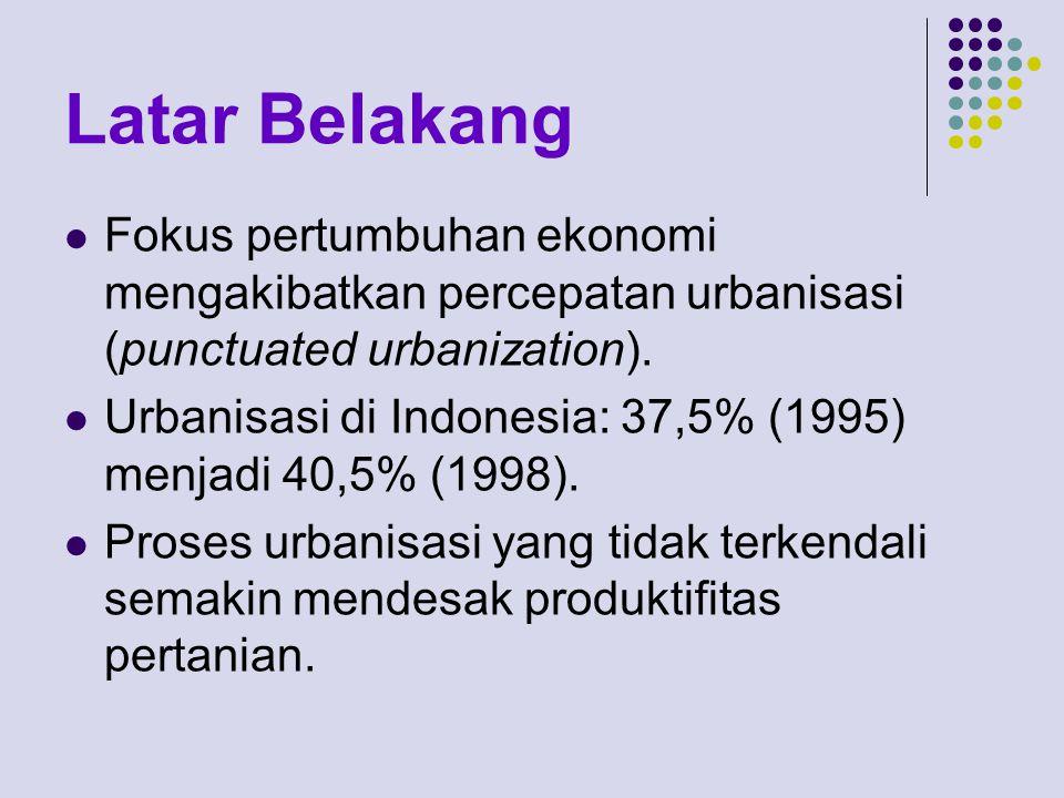 Latar Belakang Fokus pertumbuhan ekonomi mengakibatkan percepatan urbanisasi (punctuated urbanization). Urbanisasi di Indonesia: 37,5% (1995) menjadi