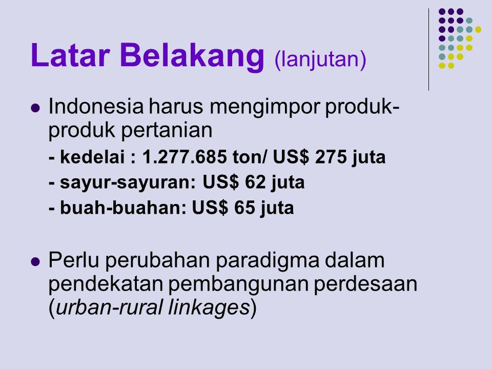Latar Belakang (lanjutan) Indonesia harus mengimpor produk- produk pertanian - kedelai : 1.277.685 ton/ US$ 275 juta - sayur-sayuran: US$ 62 juta - buah-buahan: US$ 65 juta Perlu perubahan paradigma dalam pendekatan pembangunan perdesaan (urban-rural linkages)