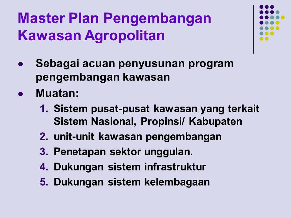 Master Plan Pengembangan Kawasan Agropolitan Sebagai acuan penyusunan program pengembangan kawasan Muatan: 1.Sistem pusat-pusat kawasan yang terkait S
