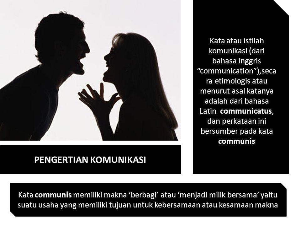 """PENGERTIAN KOMUNIKASI Kata atau istilah komunikasi (dari bahasa Inggris """"communication""""),seca ra etimologis atau menurut asal katanya adalah dari baha"""