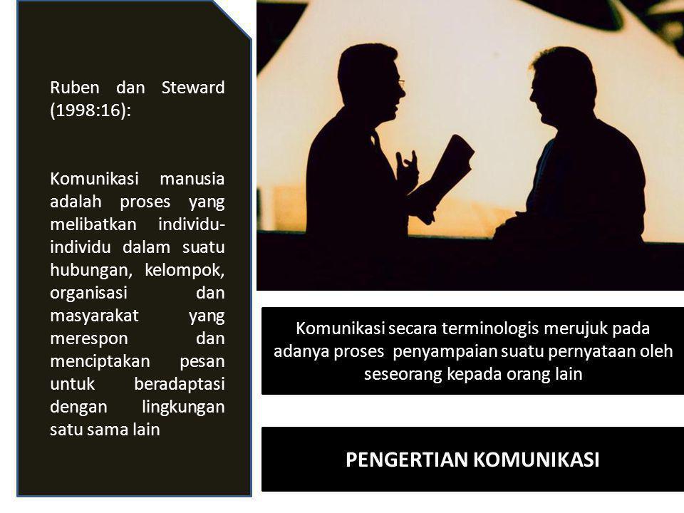 Komunikasi secara terminologis merujuk pada adanya proses penyampaian suatu pernyataan oleh seseorang kepada orang lain Ruben dan Steward (1998:16): K
