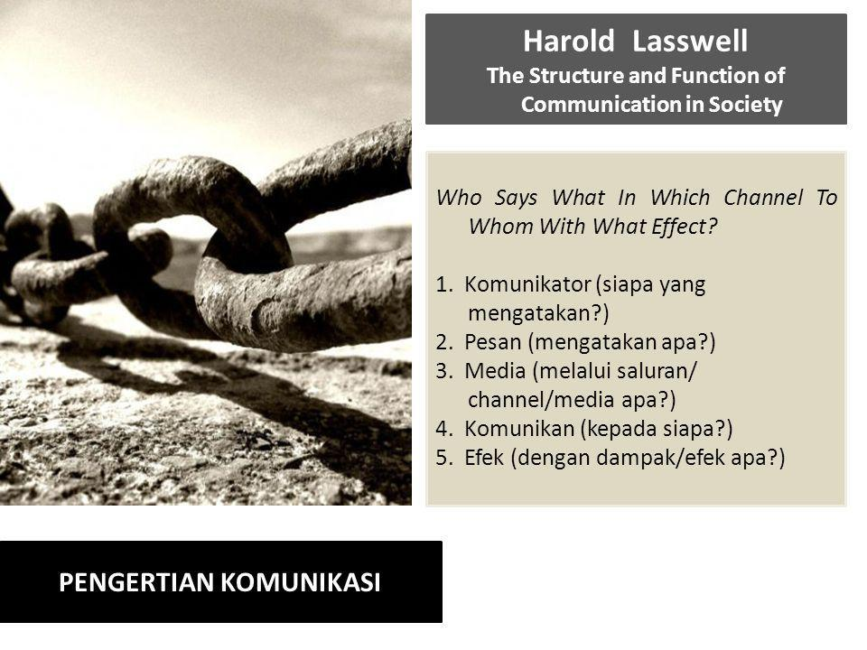 Harold Lasswell The Structure and Function of Communication in Society Who Says What In Which Channel To Whom With What Effect.
