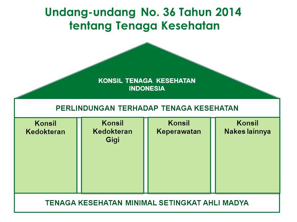 KONSIL TENAGA KESEHATAN INDONESIA PERLINDUNGAN TERHADAP TENAGA KESEHATAN Konsil Kedokteran Konsil Kedokteran TENAGA KESEHATAN MINIMAL SETINGKAT AHLI M