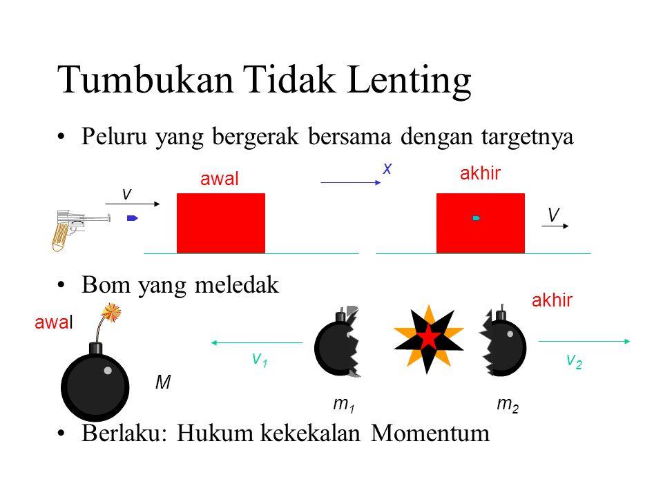 Tumbukan Tidak Lenting Peluru yang bergerak bersama dengan targetnya Bom yang meledak Berlaku: Hukum kekekalan Momentum v V awal akhir x M awal m1m1 m