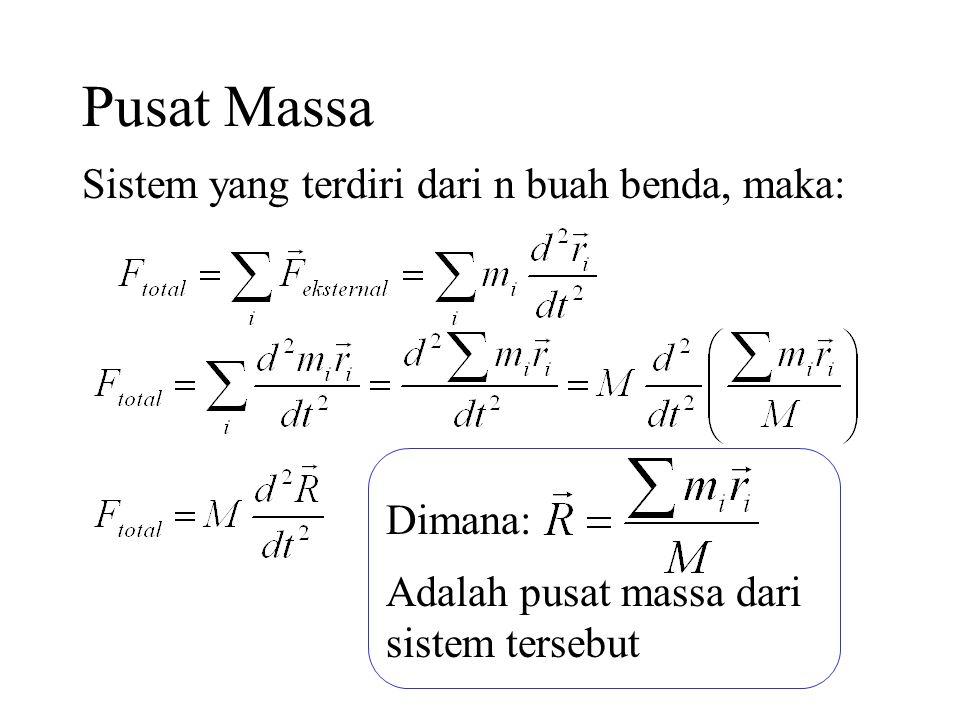 Pusat Massa Sistem yang terdiri dari n buah benda, maka: Dimana: Adalah pusat massa dari sistem tersebut