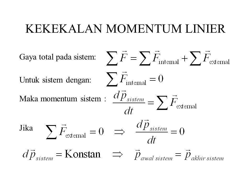 KEKEKALAN MOMENTUM LINIER Untuk sistem dengan: Gaya total pada sistem: Maka momentum sistem : Jika