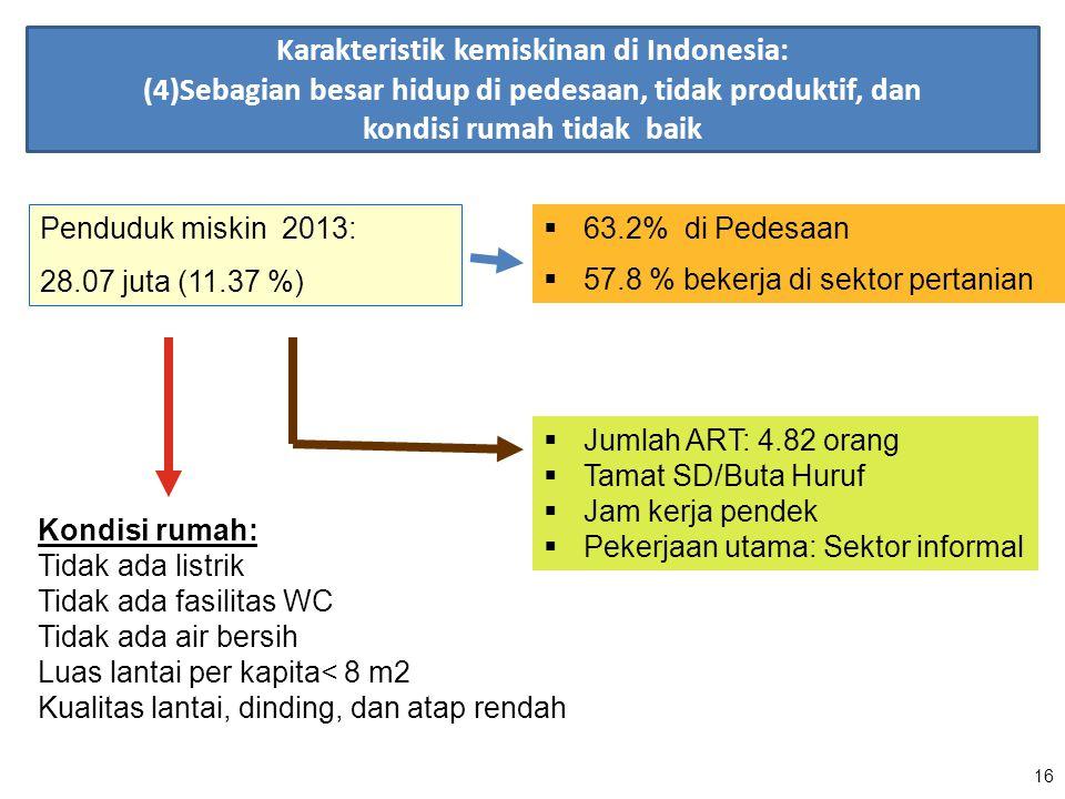 16 Penduduk miskin 2013: 28.07 juta (11.37 %)  63.2% di Pedesaan  57.8 % bekerja di sektor pertanian  Jumlah ART: 4.82 orang  Tamat SD/Buta Huruf
