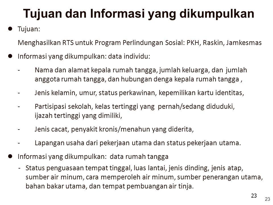 23 Tujuan dan Informasi yang dikumpulkan ● Tujuan: Menghasilkan RTS untuk Program Perlindungan Sosial: PKH, Raskin, Jamkesmas ● Informasi yang dikumpu