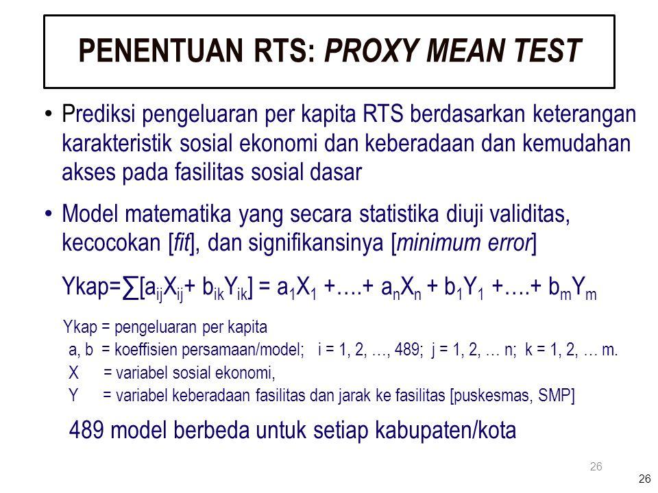 26 PENENTUAN RTS: PROXY MEAN TEST 26 Prediksi pengeluaran per kapita RTS berdasarkan keterangan karakteristik sosial ekonomi dan keberadaan dan kemuda